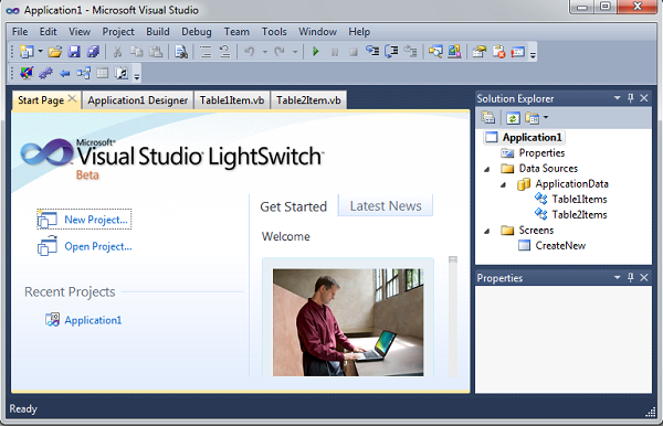 How to make application with visual studio light switch