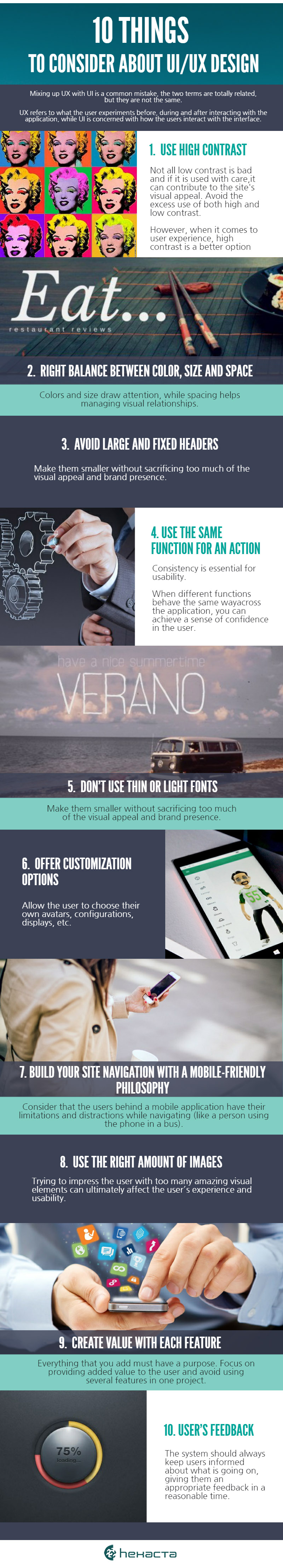 10 things to avoid on UXUI design infographic
