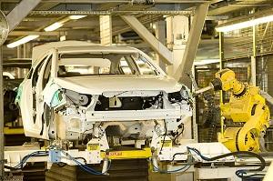 robot building a white car