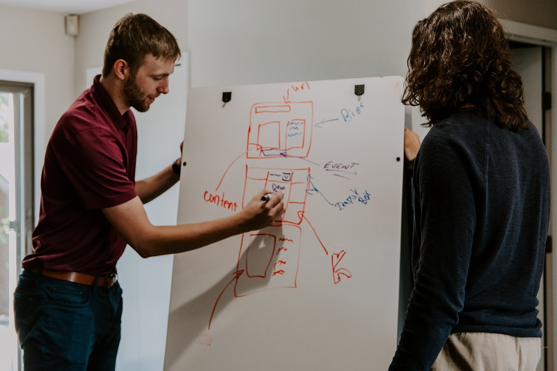 Young man and a woman writing in a white board some drawings